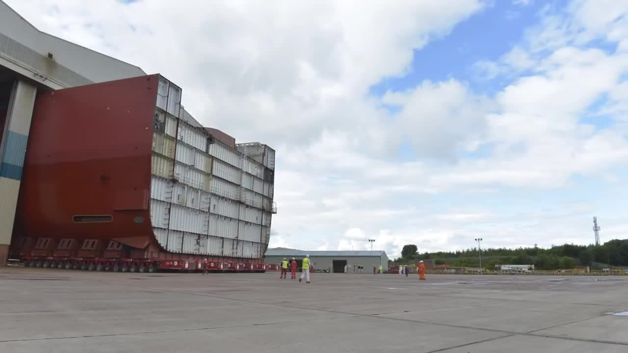 WarshipGfys, warshipgfys, Moving the 11,300 ton Lower Block 4 of HMS Prince of Wales. (reddit) GIFs