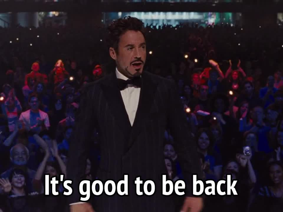 iron man 2, return, returning, robert downey jr., Iron Man 2 - It's good to be back GIFs