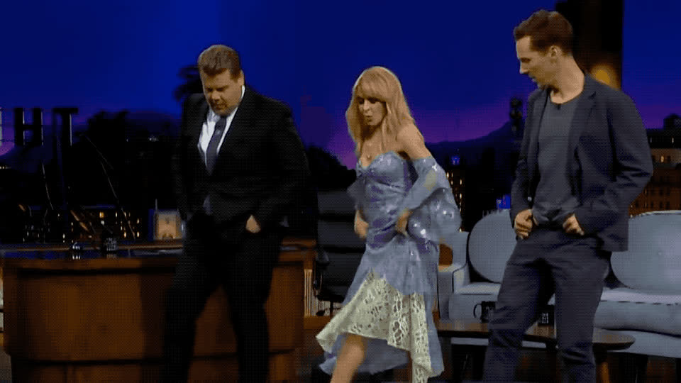 benedict, celebrate, corden, cumberbatch, dance, dancing, epic, excited, funny, james, kylie, learn, line, lol, minogue, moves, party, show, teach, Kylie Minogue teaches Benedict Cumberbatch line dancing GIFs