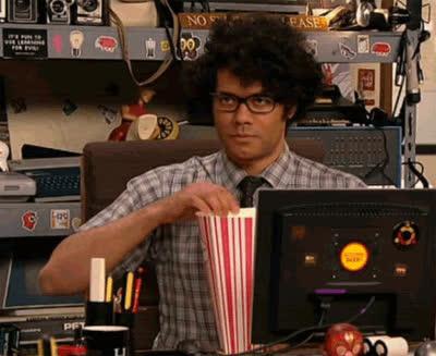 Richard Ayoade, baseball, popcorn, suspense, popcorn GIFs
