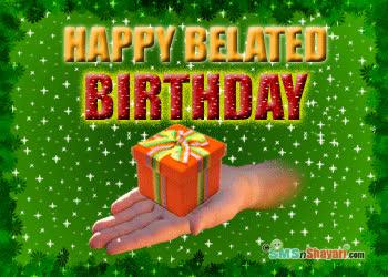 bday, belated, belated birthday, birthday, happy birthday, Present for you happy belated birthday card GIFs