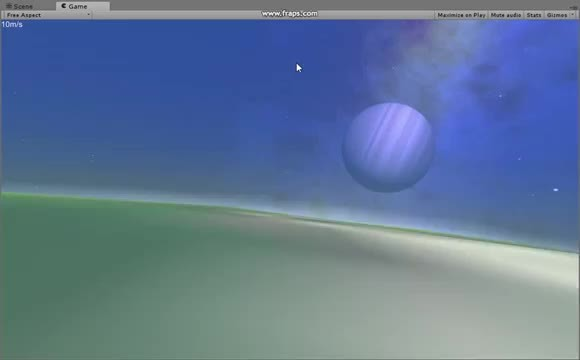 Unity3D, proceduralgeneration, Procedural planets - Terrain loading and flying from surface to space (video link in comments) (reddit) GIFs