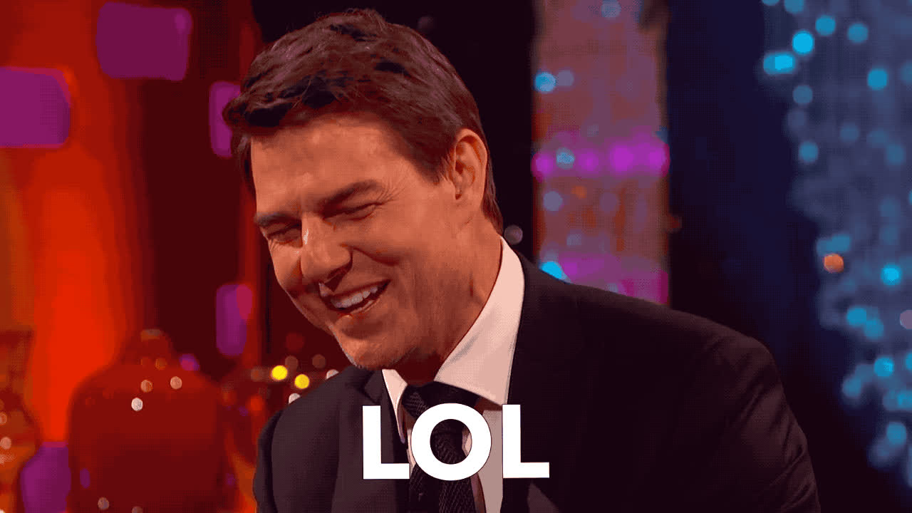 cruise, funny, graham, ha, haha, hilarious, joke, laugh, lol, loud, norton, out, show, tom, tom cruise, Tom Cruise - LOL GIFs
