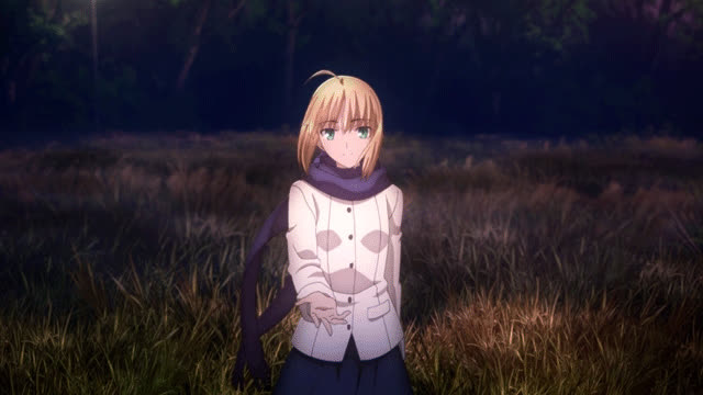 Fate, Saber, anime, animegif, animegifs, harmony, nature, standing in the nature, Saber GIFs