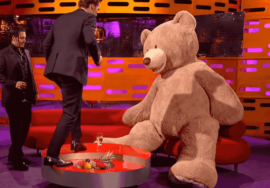 angry, attack, bear, benedict, cumberbatch, depp, drunk, epic, fall, fight, funny, graham, haha, johnny, lol, mad, norton, show, sofa, teddy, Benedict attacks a teddy bear GIFs