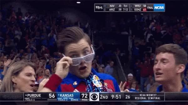 Kansas Jayhawk fan is hyped reaction