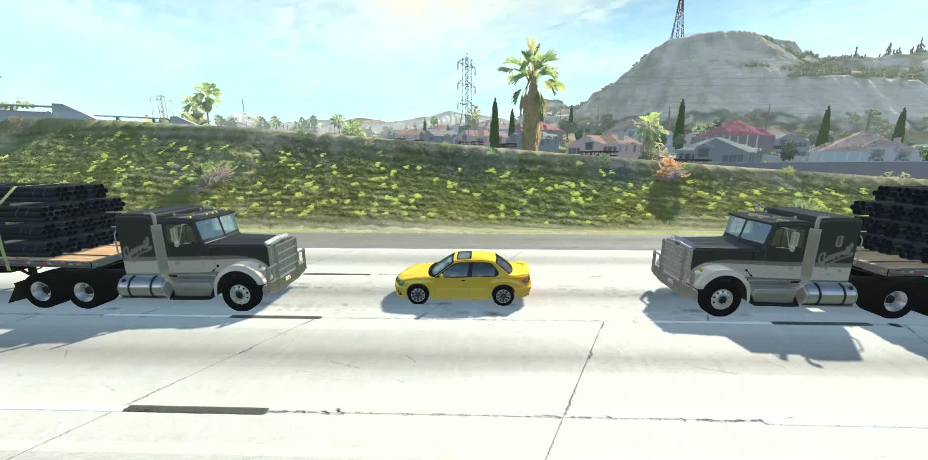 BeamNG, BeamNG.drive, Game Physics, Physics, Sandwiched, Semi truck vs car, Slow mo, Slow motion, Slowmotion, crushed, semi trucks, BeamNG - Sandwiched GIFs