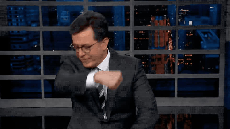 arm, bodybuilding, colbert, fight, fit, gym, hand, it, kiss, muscles, out, stephen, strong, success, thank, tough, victory, win, work, workout, Stephen is strong GIFs