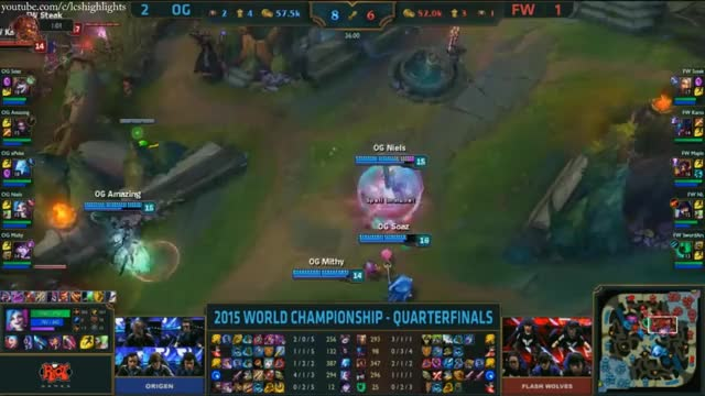 FW vs OG Highlights - FLASH WOLVES vs ORIGEN Game 4 - S5 WORLDS 2015 KNOCKOUT STAGE - QUARTERFINALS