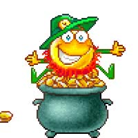 Watch and share St Patricks Day Pot Of Gold Coins Throwing Smiley Emoticon Animation Animated Gif GIFs on Gfycat