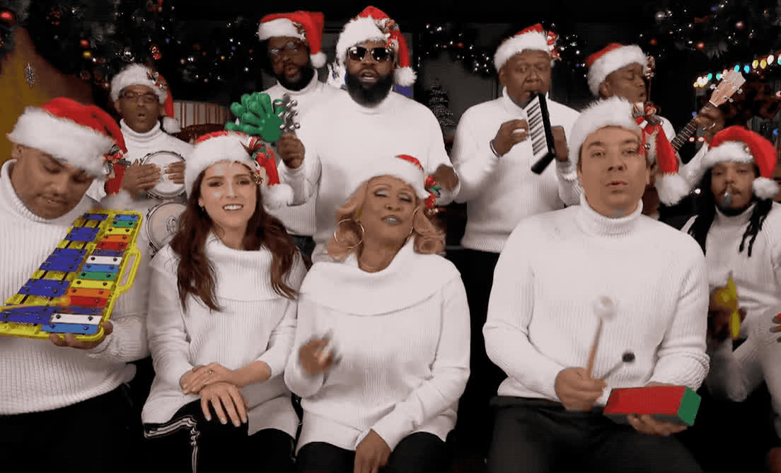 anna, anna kendrick, celebs, christmas, classroom, claus, darlene, fallon, happy, holidays, instrument, jimmy, kendrick, love, roots, santa, sing, song, the, xmas, Jimmy Fallon, Anna Kendrick, Darlene Love, The Roots - Sing Christmas GIFs