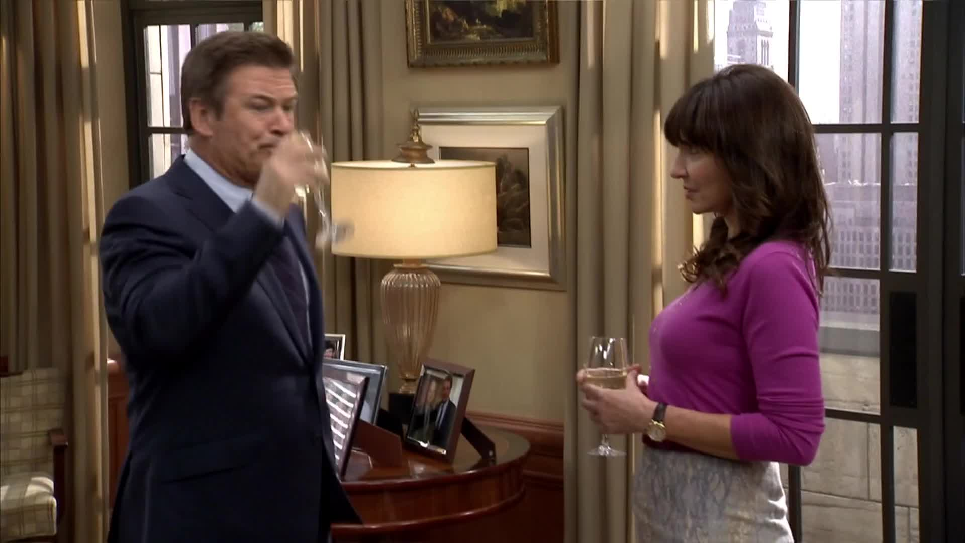30 rock, alec, baldwin, d'fwine, donaghy, drink, jack, jordan, of, oh no you didn't, oh snap, queen, s06e20, shock, spits, spitting, surprise, wine, Jack spitting out his D'Fwine GIFs