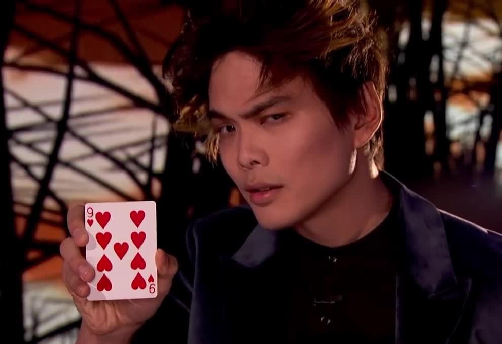 2018, agt, america, america's, cards, flirt, flirty, got, hearts, hey, lim, magician, nine, sexy, shin, talent, there, win, wink, winner, Shin Lim: Magician wins America's Got Talent 2018 GIFs