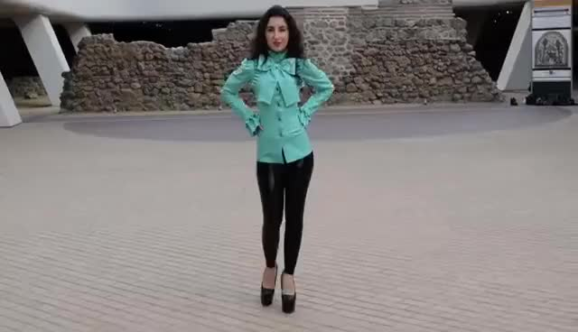 Watch and share Wearing Latex Jeans And A Classy Green Blouse. Walking In The City Center. GIFs on Gfycat