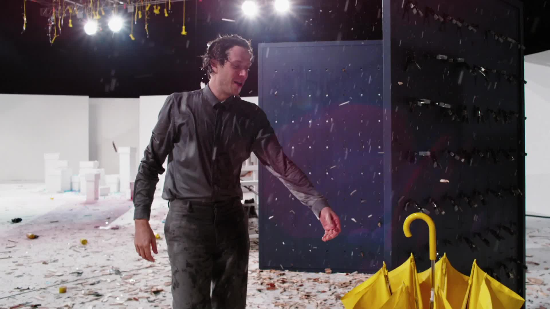 OK Go, The One Moment, moment, morton, music, okgo, one, theonemoment, Singing in the rain with Damian - OK Go GIFs