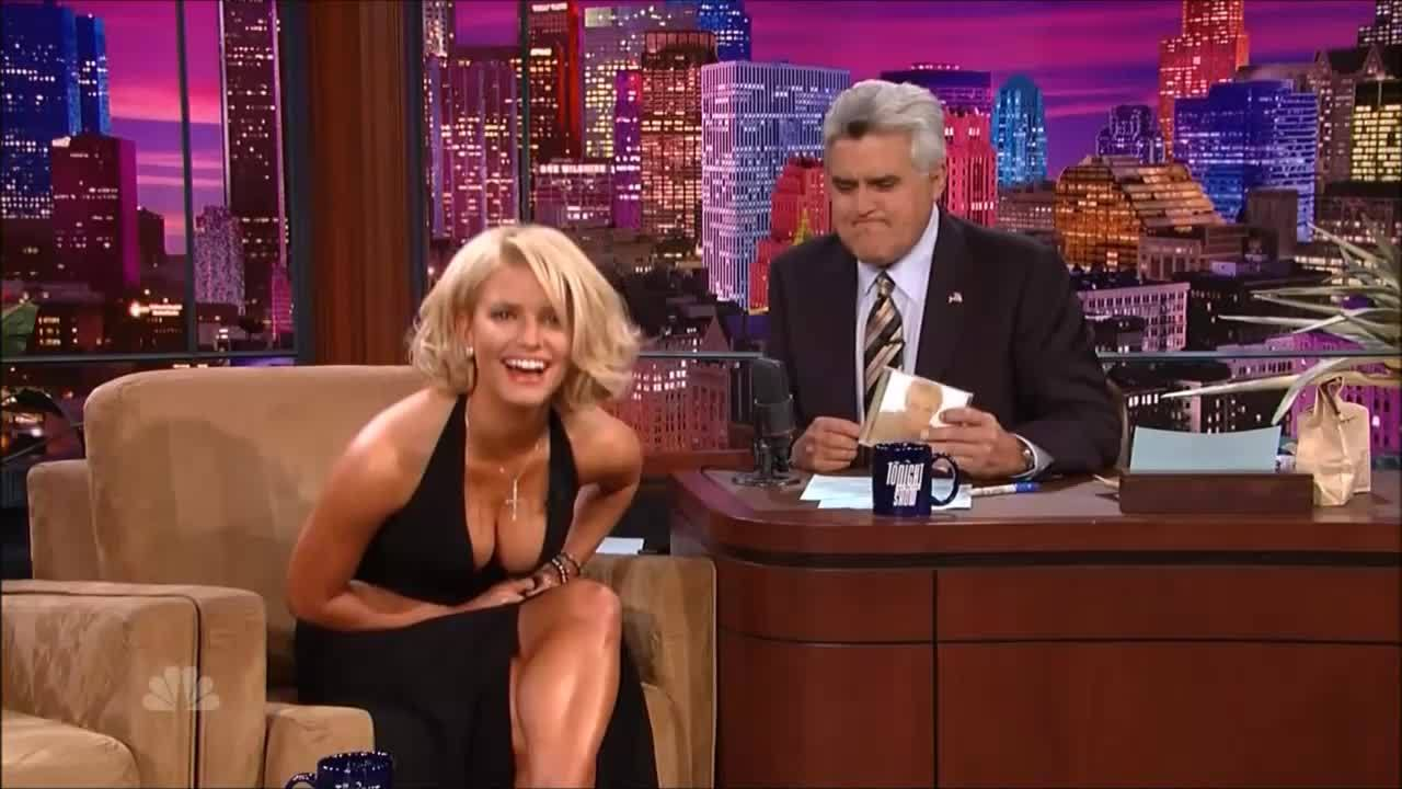 Jessica Simpson Sexy Blonde with BIG TITS CLEAVAGE on Leno