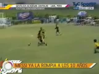 footbaww, Little Messi (age 10, #10) runs over to console crying opponent after tournament final (Messi's team won). (reddit) GIFs
