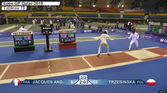 Watch JACQUES ANE 5 GIF by Scott Dubinsky (@fencingdatabase) on Gfycat. Discover more gender:, leftname: JACQUES ANE, leftscore: 5, rightname: TRZEBINSKA, rightscore: 11, time: 00027776, touch: right, tournament: doha2019, weapon: epee GIFs on Gfycat