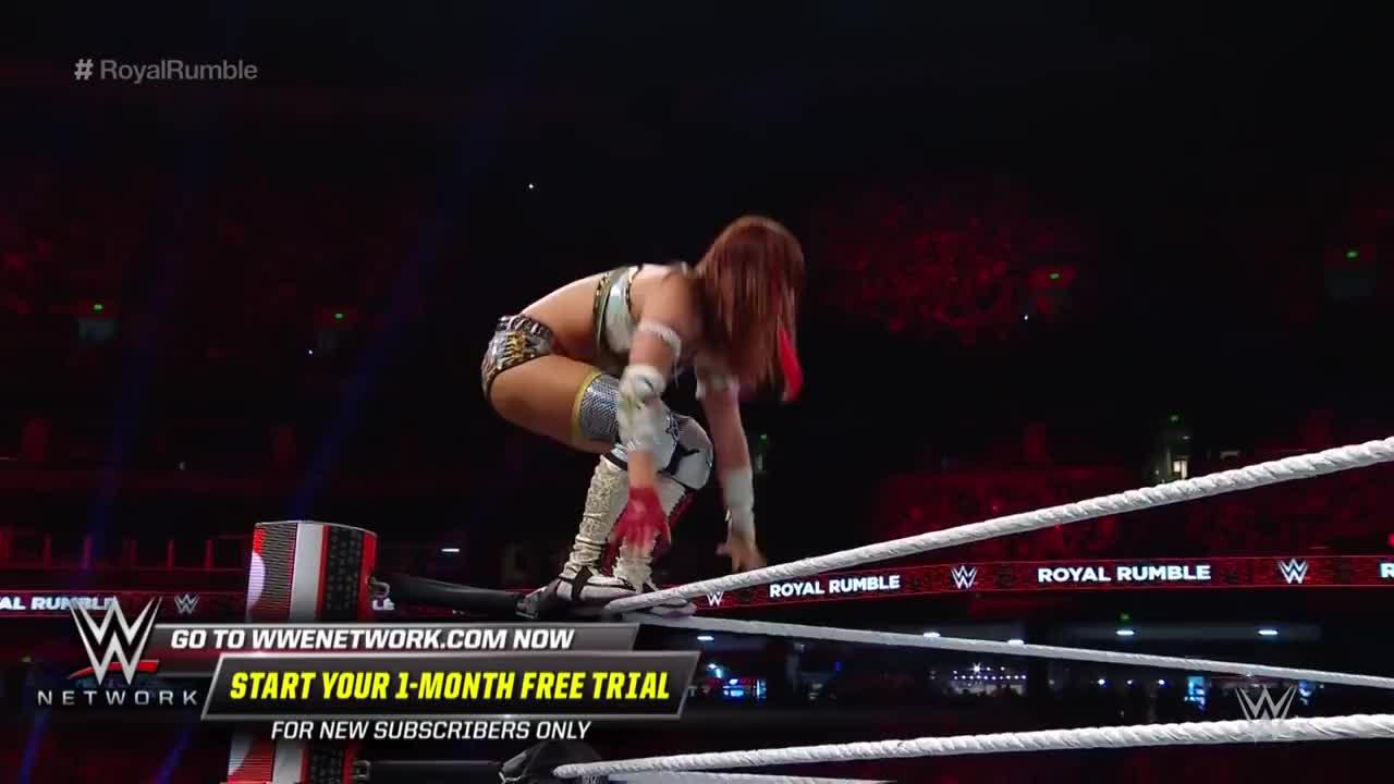 00, 00-04, 2019-01-27t19, ATH, Dt, Sp, Superstars, athlete_in_match, ev, high, scp, st, ty, wrestle, wrestler, wrestling, wwe, wwe-chfl, wwe-rumble, Kairi Sane makes a major impact in the Women's Royal Rumble Match: Royal Rumble 2019 (WWE Network) GIFs