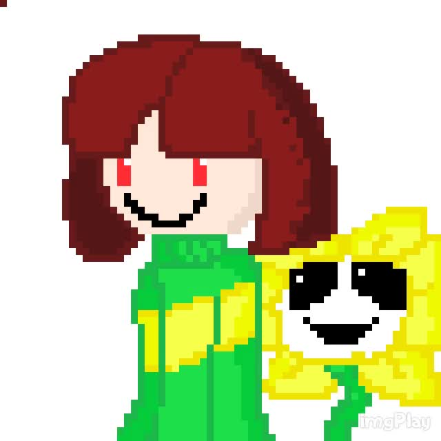 Watch and share Chara And Flowey/Asriel Pixel Gif GIFs on Gfycat
