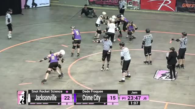 Watch 2018 International WFTDA Championships Game 7: Jacksonville Roller Derby v Crime City Rollers GIF on Gfycat. Discover more Derby, Rollerderby, WFTDA, Womens, association, flat, roller, track, wftdatv, women GIFs on Gfycat