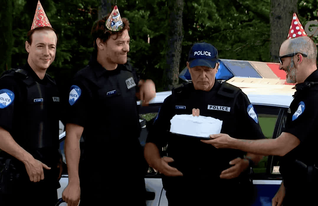 bday, birthday, cake, candles, celebrate, for, happy, happy birthday, hats, hooray, just, laughs, lol, officer, party, police, surprise, tada, to, you, Funny police officer birthday surprise  GIFs