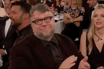 applause, awkeard, bravo, celebrate, del toro, excited, globes, golden, good, guillermo, happy, smile, Guillermo del Toro GIFs