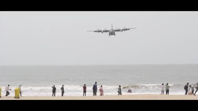 Watch and share Indian Airforce - Hercules C130J Landing - Juhu Aerodrome - Mumbai - MUST SEE!! (reddit) GIFs on Gfycat