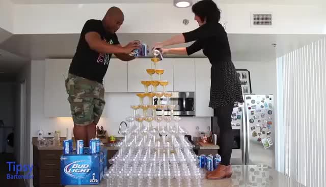 Watch and share Beer Tower - Tipsy Bartender GIFs on Gfycat