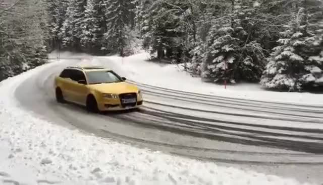 Watch and share Audi RS4 Snow Drift GIFs on Gfycat