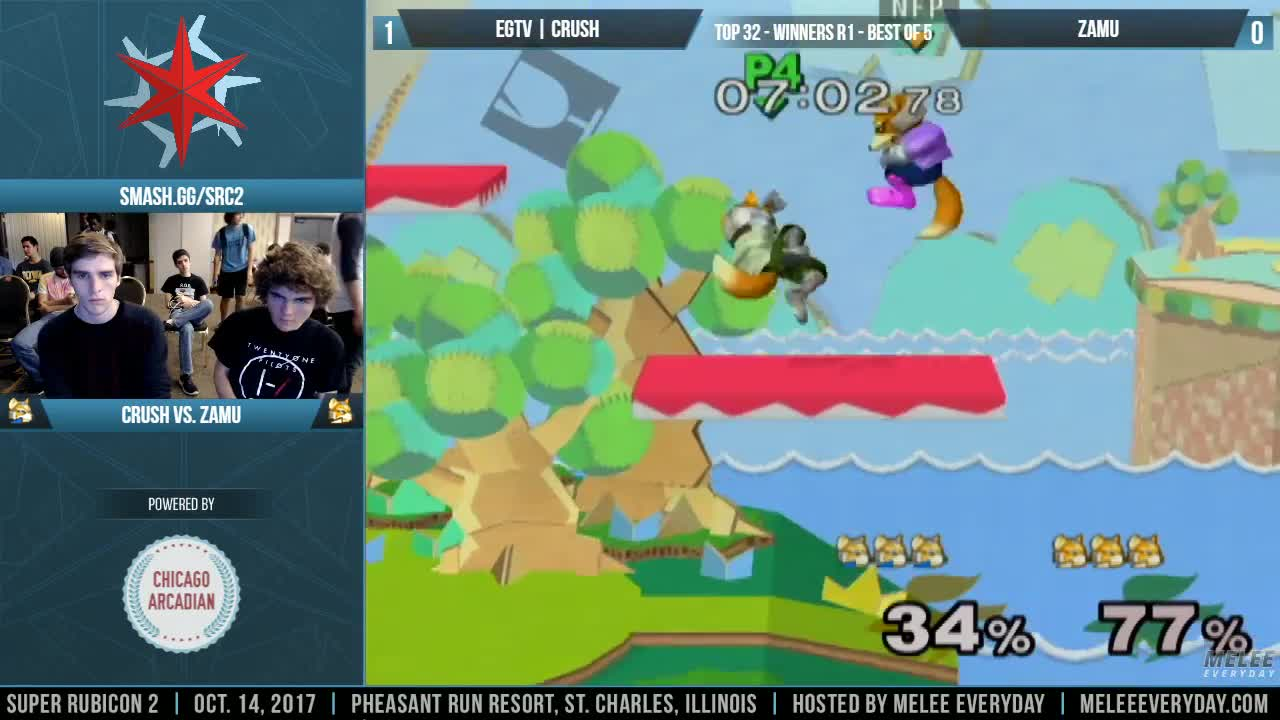 melee, smash, ssbm, Super Rubicon 2 - EGTV | Crush (Fox Blue) vs. ZamU (Fox) - SSBM - Top 32, Winners R1 GIFs