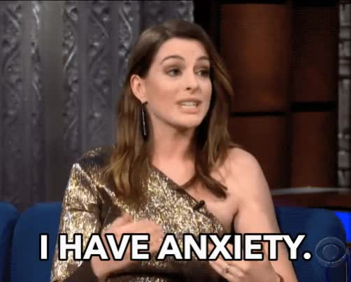 Watch this anne hathaway GIF by The GIF Smith (@sannahparker) on Gfycat. Discover more anne hathaway, anxiety, anxious, nervous, the late show, the struggle GIFs on Gfycat