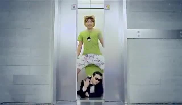 Gangnam style gif elevator