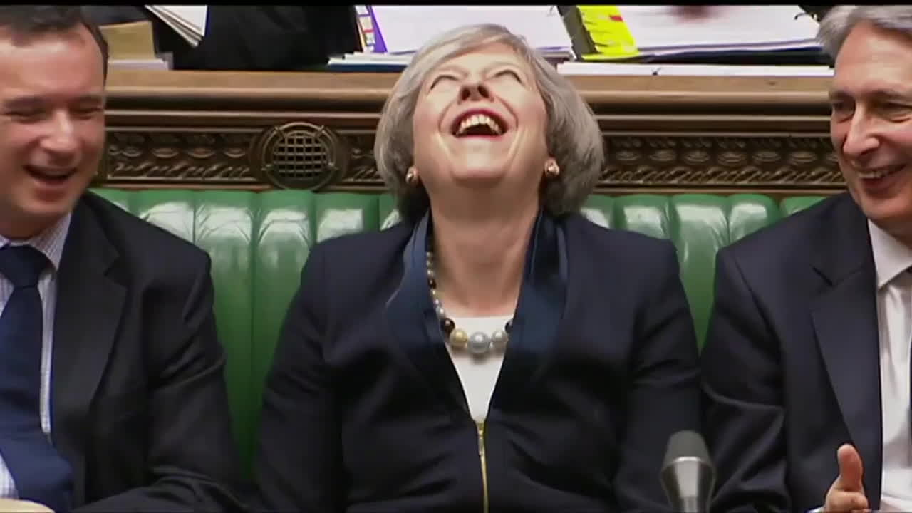laughing, pm, pm laughs on council, theresa may, uk, Theresa May laughs off Surrey council tax deal question GIFs