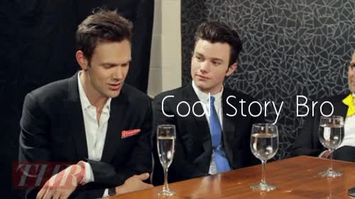 Watch Cool Story Bro GIF by Reaction GIFs (@sypher0115) on Gfycat. Discover more Chris Colfer, Joel Mchale, cool bro GIFs on Gfycat