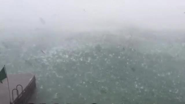 Microburst storm with lightning and golf ball sized hail 8/2/2015