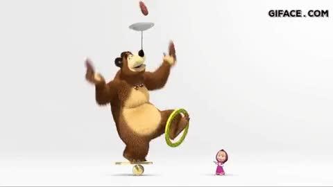 Watch and share Juggler Bear Masha And The Bear GIFs on Gfycat