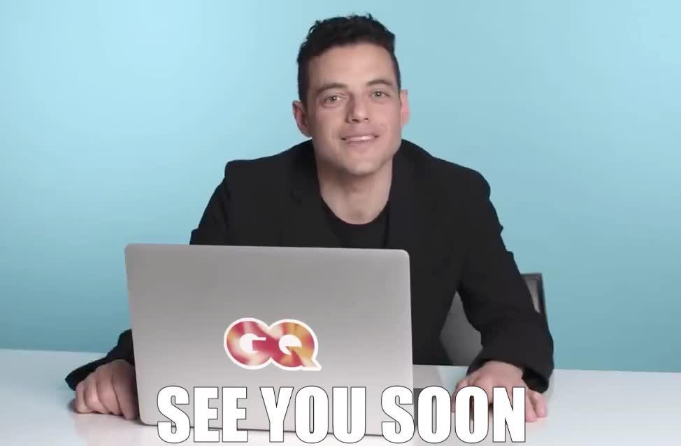 bye, close, cu, enough, finish, go, got, gotta, gq, laptop, later, malek, nice, rami, see, soon, to, work, you, Rami Malek will see you soon GIFs