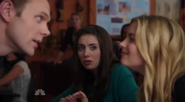 Britta, Gillian, weakpots, Britta and Jeff  - THE tongue kiss!! - Community - Gillian Jacobs & Joel McHale GIFs