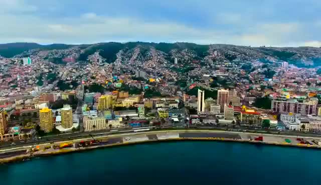 Watch and share VALPARAISO - CHILE. Drone Aerial Footage - DJI Phantom 4 Drone Flying Over The City In 4k GIFs on Gfycat