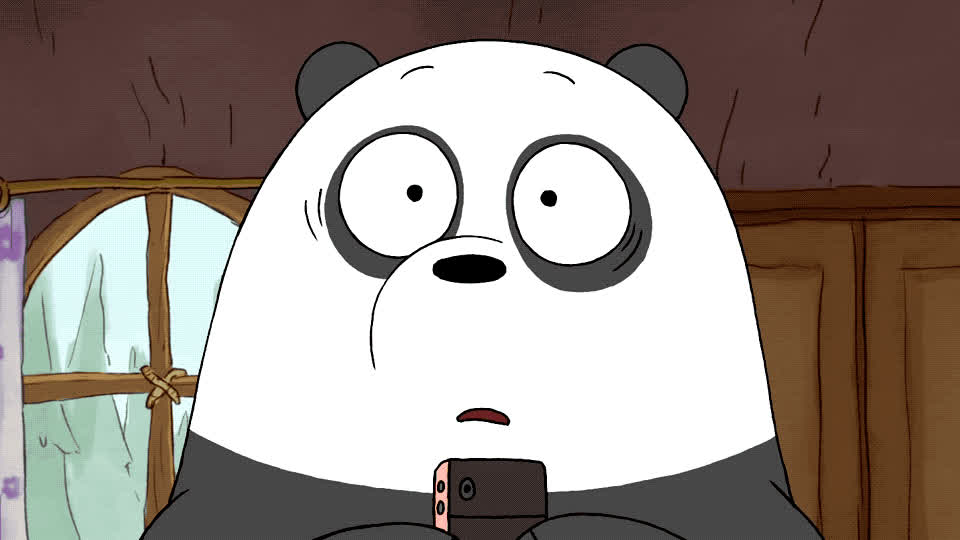 awkward, bare, bears, blush, embarrassed, god, my, oh, omg, smile, surprised, uncomfortable, we, weird, what, wtf, We bare bears - OMG GIFs