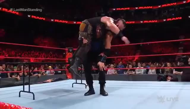 Watch and share Roman Reigns Vs. Braun Strowman - Last Man Standing Match: Raw, Aug. 7, 2017 GIFs on Gfycat