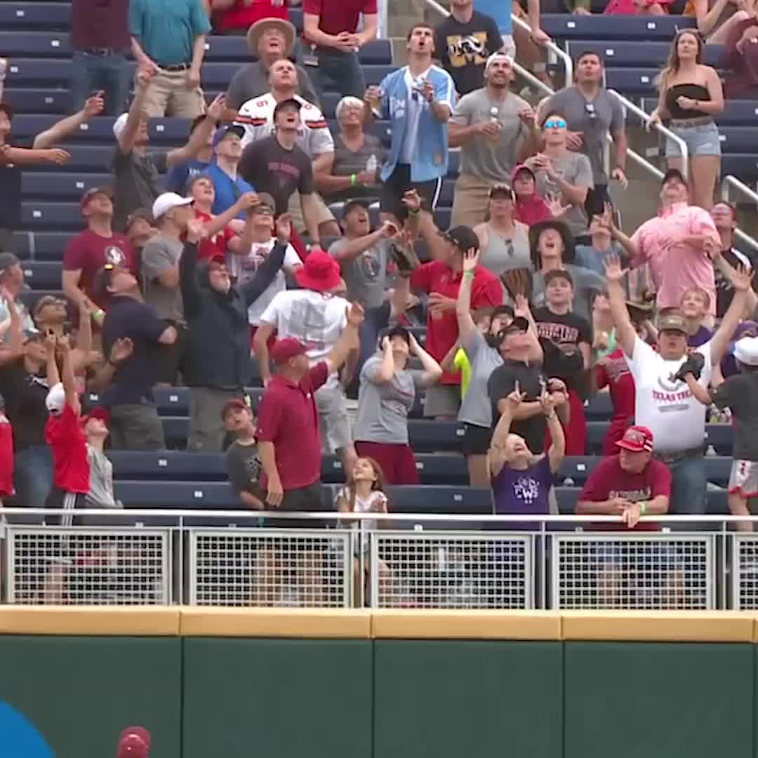 Fan at College World Series catches ball, then chugs beer, Catch the ⚾️ AND chug the 🍺 (via ESPN) GIFs