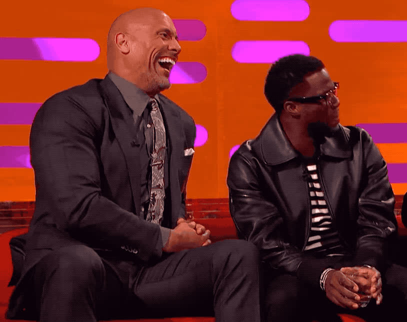 dwayne johnson, funny, graham, hart, hilarious, joke, kevin, kevin hart, laugh, lol, loud, norton, out, rock, show, the, The Rock & Kevin Hart - LOL GIFs