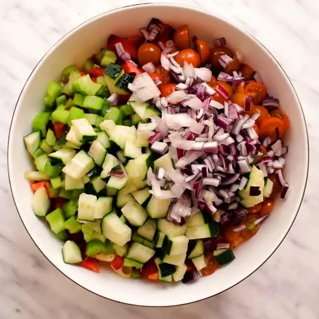 Watch and share Creamy Vegan Rainbow Pasta Salad! 😋 >> Recipe >> Https://thestingyvegan.com/... GIFs on Gfycat
