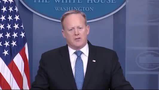 Watch and share Spicer During A Press Conference GIFs by HoodieDog on Gfycat