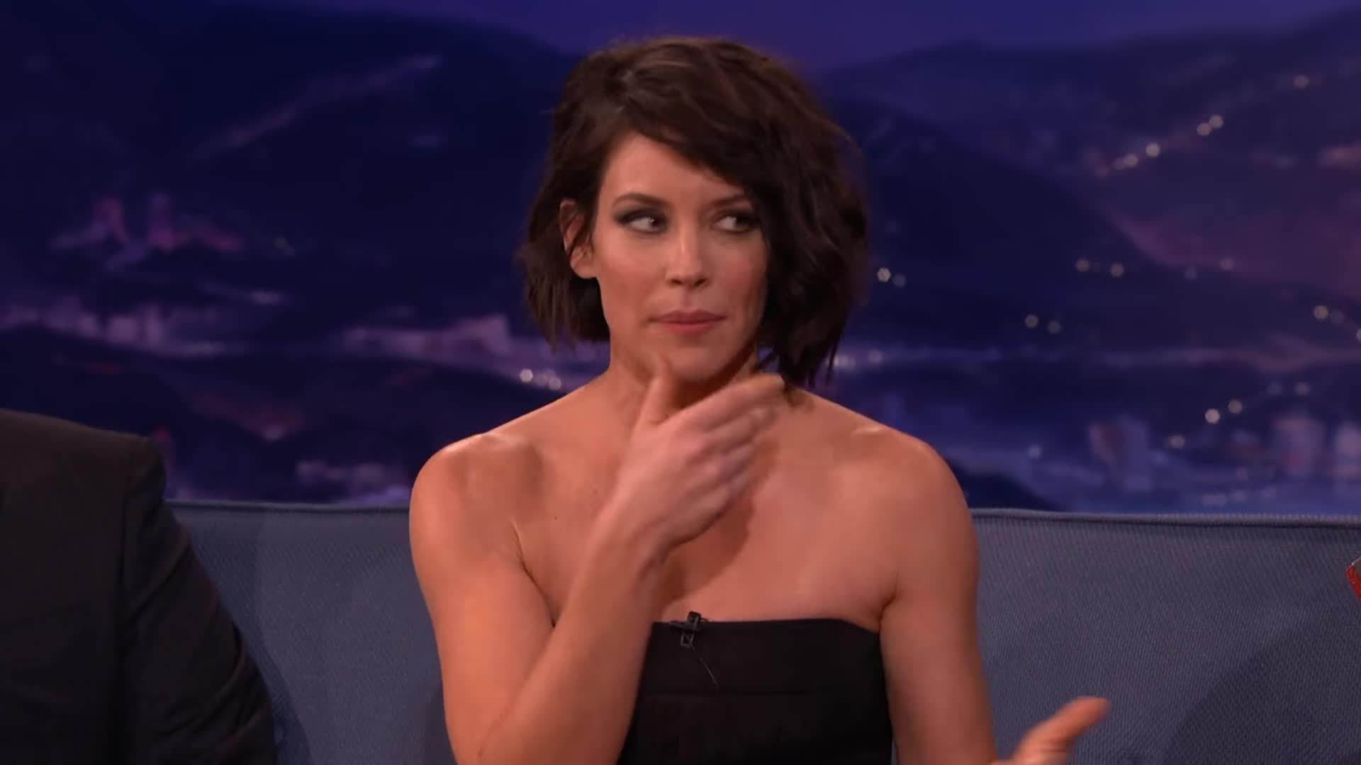 evangelinelilly, sexyhair, talkshowgirls, Evangeline Lilly's Ear Fetish  - CONAN on TBS GIFs