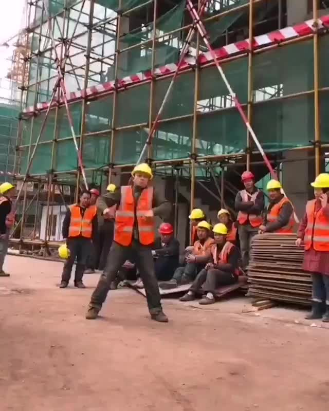 Watch and share Chinese Construction Worker Dancing Mime GIFs by Boojibs on Gfycat