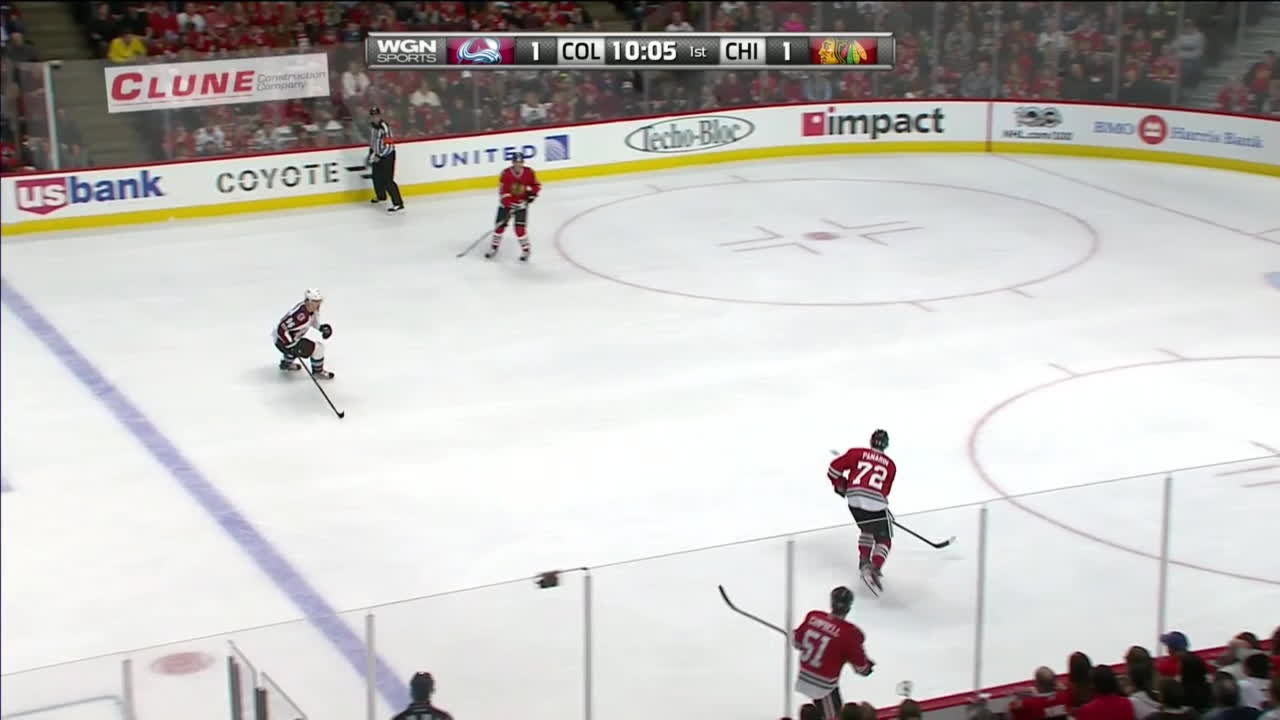 Kane gives puck right to MacKinnon; Darling bails him out. GIFs