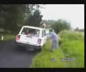 lady falling into ditch
